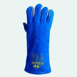 Split leather gloves (blue)